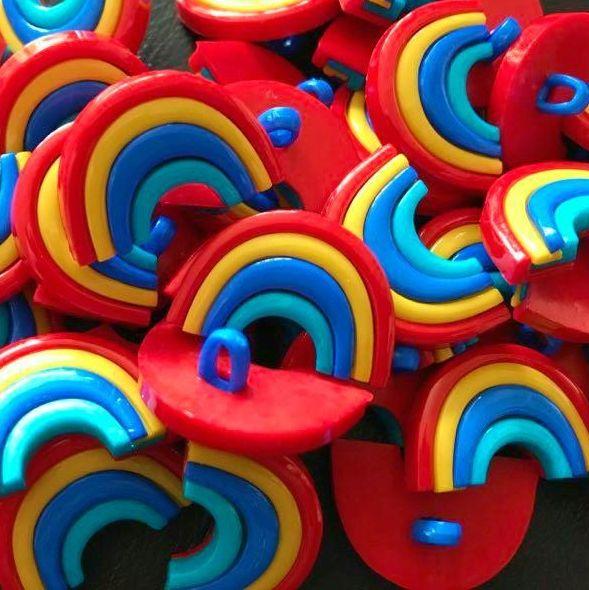 Multi Colour 25mm Rainbow Buttons