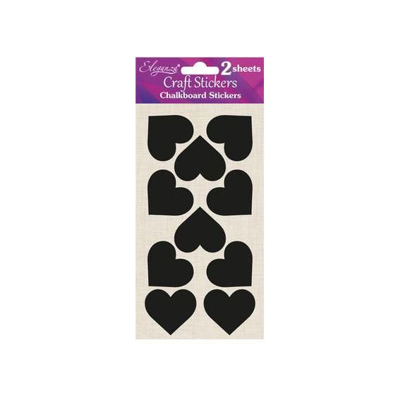 Chalkboard Self Adhesive Stickers Labels - Small Hearts