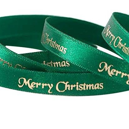 2 Metres Luxury Merry Christmas Foil Printed  Ribbon 10mm Wide -  Green & G