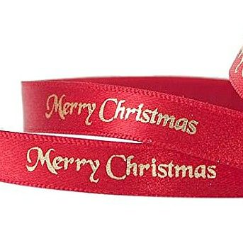 2 Metres Luxury Merry Christmas Foil Printed  Ribbon 10mm Wide -  Red & Gold
