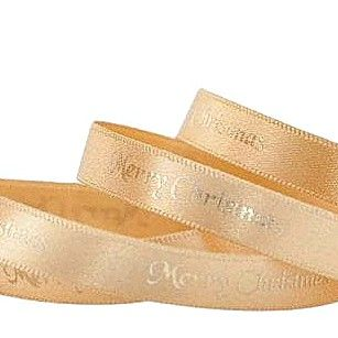 2 Metres Luxury Merry Christmas Foil Printed  Ribbon 10mm Wide -  Cream & G