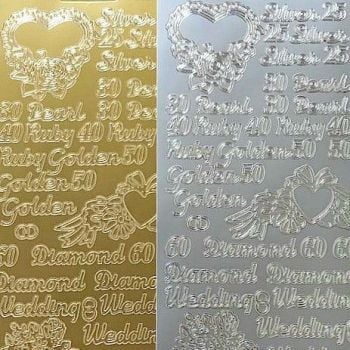 Assorted Anniversary Greetings - Silver, Pearl, Ruby, Golden, Diamond Peel Off Sticker Sheet