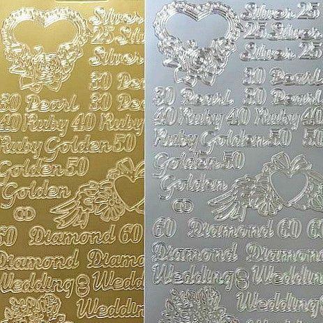 Assorted Anniversary Greetings - Silver, Pearl, Ruby, Golden, Diamond Peel