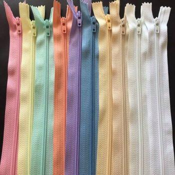 Bundle of 10 Nylon Autolock Zips, Closed End - Pastel Colours