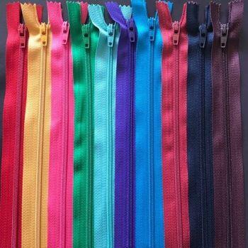Bundle of 10 Nylon Autolock Zips, Closed End - Bright Colours