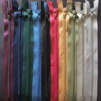 Bundle of 10 Nylon Autolock Zips, Closed End - Dark Colours
