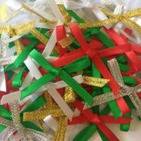 Mini Satin Fabric 3mm Ribbon Bows - Christmas Mix