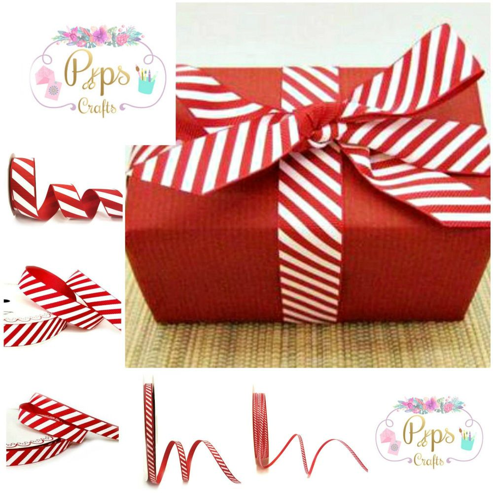 Candy Cane Stripe Grosgrain Ribbon - Choice of Widths