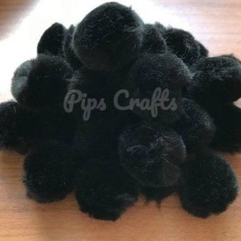 Soft Fluffy 25mm Pom Poms - Black