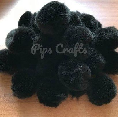 Soft Fluffy 25mm Pom Poms - Black