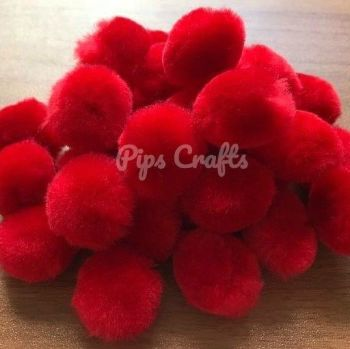 Soft Fluffy 25mm Pom Poms - Red