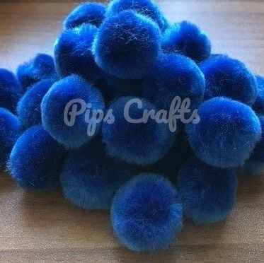 Soft Fluffy 25mm Pom Poms - Royal Blue