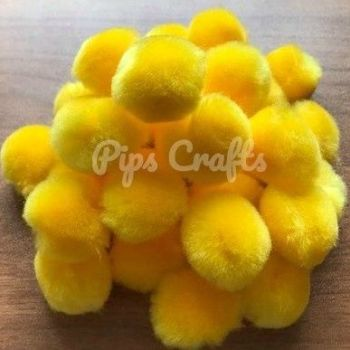 Soft Fluffy 25mm Pom Poms - Yellow