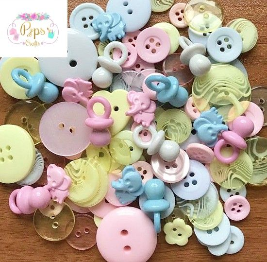 100 Assorted Pastel Baby Mix Buttons