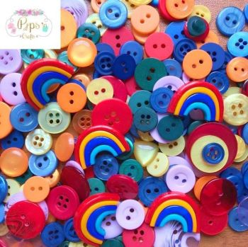 100 Assorted Rainbow Mix Buttons