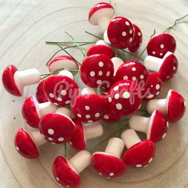 Miniature Red & White Toadstool On A Wired Stem