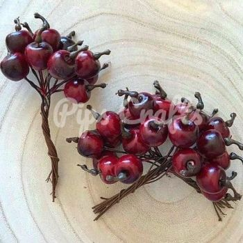 Red Apples On A Wire Stem