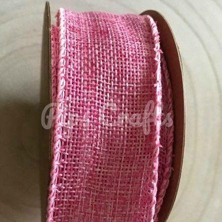 Hessian Wire Edge Ribbon Pink - 40mm