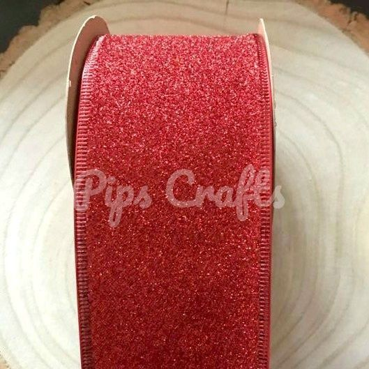 63mm Wide Sparkly Wired Glitter Ribbon - Red