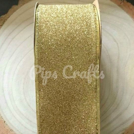 63mm Wide Sparkly Wired Glitter Ribbon - Gold