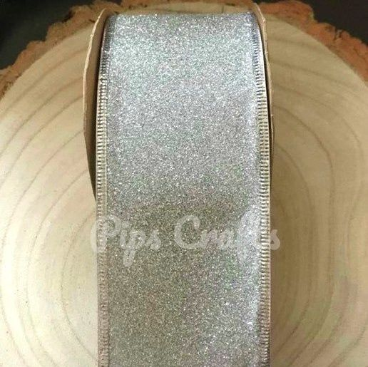 63mm Wide Sparkly Wired Glitter Ribbon - Silver