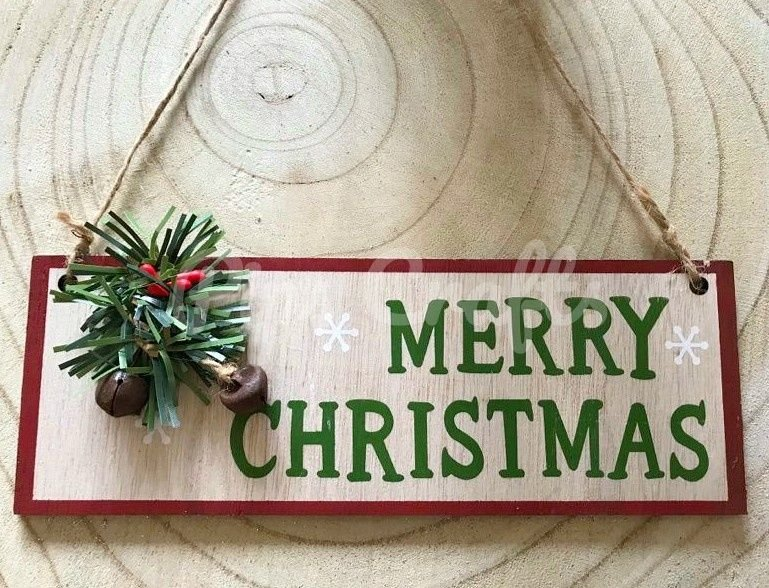 Merry Christmas Wooden Hanging Sign