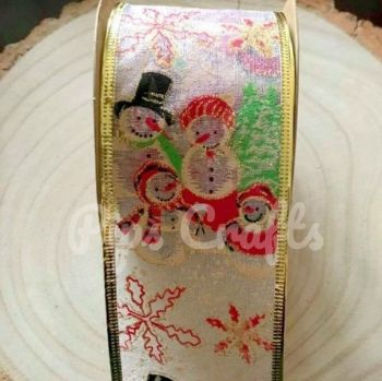 Snowman Organza Wired Ribbon - 63mm Wide