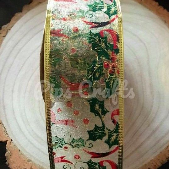 Holly & Berries Organza Wired Ribbon - 63mm Wide