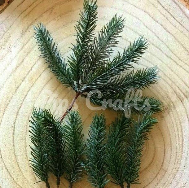 Green Artificial Pine Stems - 18cm