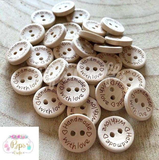 Handmade With Love Natural Wood Buttons 15mm