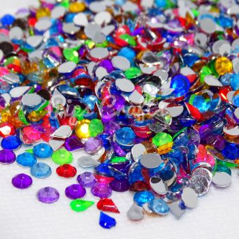 500+ Mixed Flat Back Rhinestones - Assorted Colours