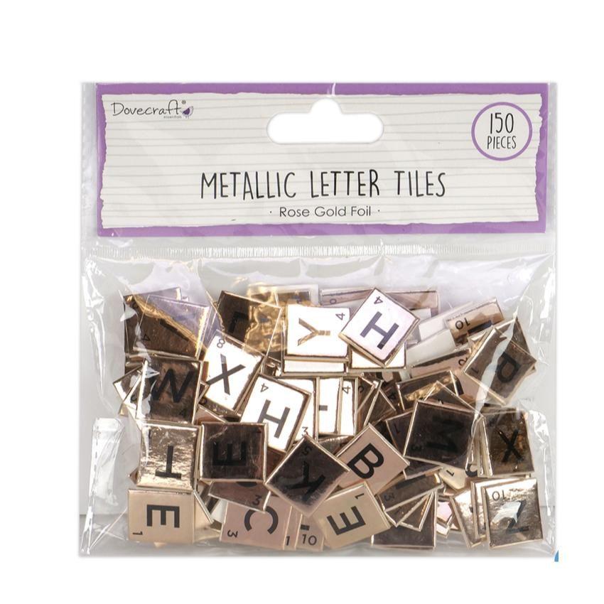 150 Self Adhesive Scrabble Letter Tiles - Rose Gold