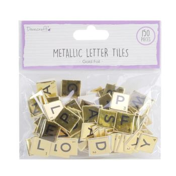150 Self Adhesive Scrabble Letter Tiles - Gold