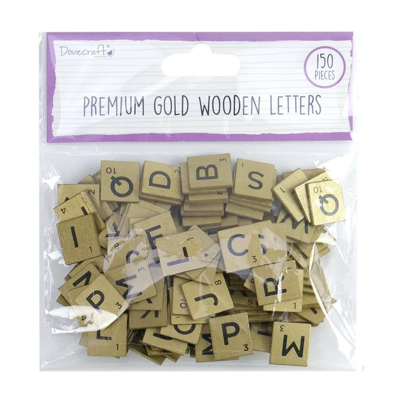150 Self Adhesive Wood Scrabble Letter Tiles - Gold