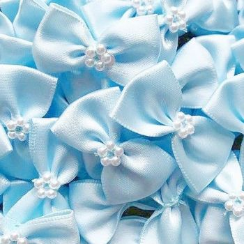 Satin Ribbon Bow Ties With Pearl Centre 3.5cm - Light Blue