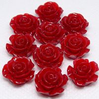Resin Roses Flat Back Cabochons - 14mm & 20mm Red