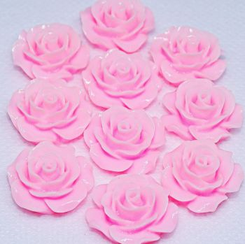 Resin Roses Flat Back Cabochons - 14mm & 20mm Pink