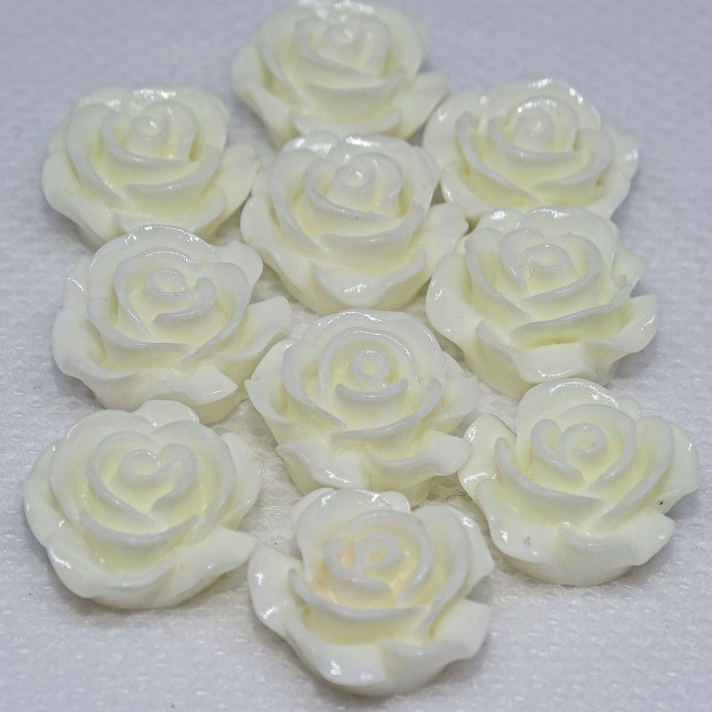 Resin Roses Flat Back Cabochons - 14mm & 20mm Bridal White