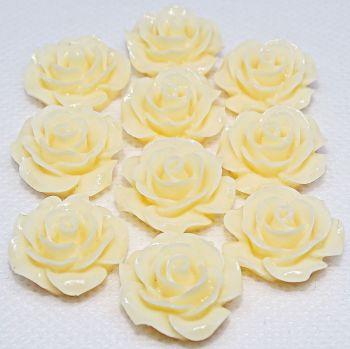 Resin Roses Flat Back Cabochons - 14mm & 20mm Cream