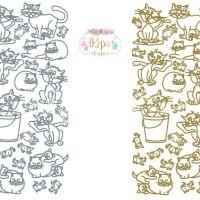 Cats, Animals Peel Off Sticker Sheet