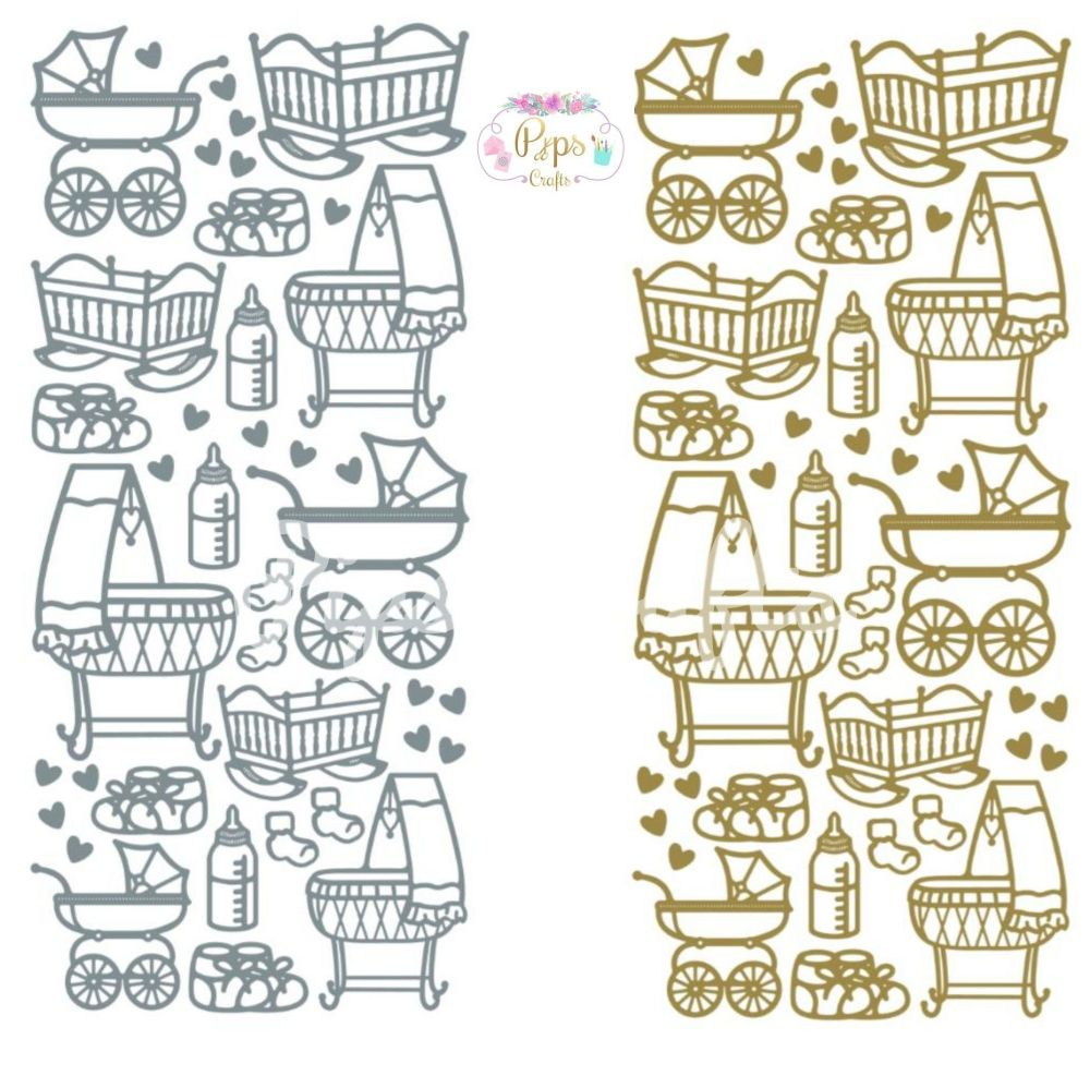 New Baby Peel Off Sticker Sheet, Prams, Cots & Bootees