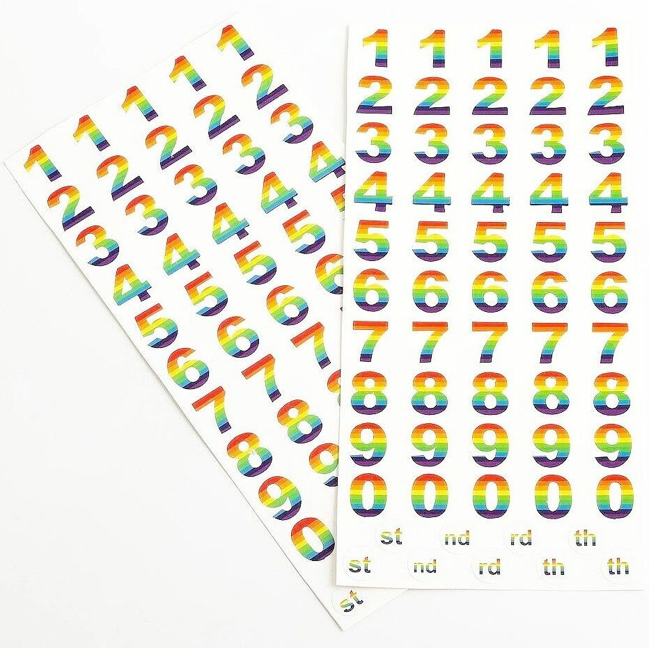 Multi Colour Rainbow Numbers Self Adhesive Stickers