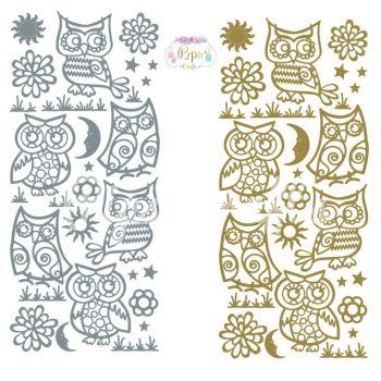 Owls, Birds Peel Off Sticker Sheet