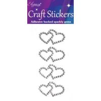 Diamante Crystal Gems Double Heart Stickers - Silver
