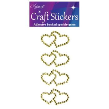 Diamante Crystal Gems Double Heart Stickers - Gold