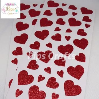 Red Sparkly Glitter Love Heart Stickers