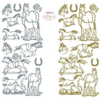 Horses, Ponies, Animals Peel Off Sticker Sheet