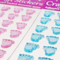 Diamante Baby Feet  Stickers - Blue