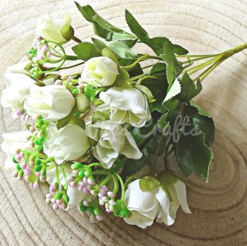 Beautiful Artificial Bunch of Roses 18 Heads  - Ivory