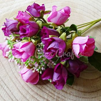 Beautiful Artificial Bunch of Roses 18 Heads  - Pink/Purple